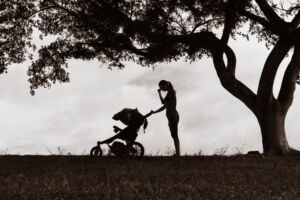Woman With Pram Dealing with Postnatal Depression